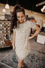 Light Taupe Reptile Print SS Dress