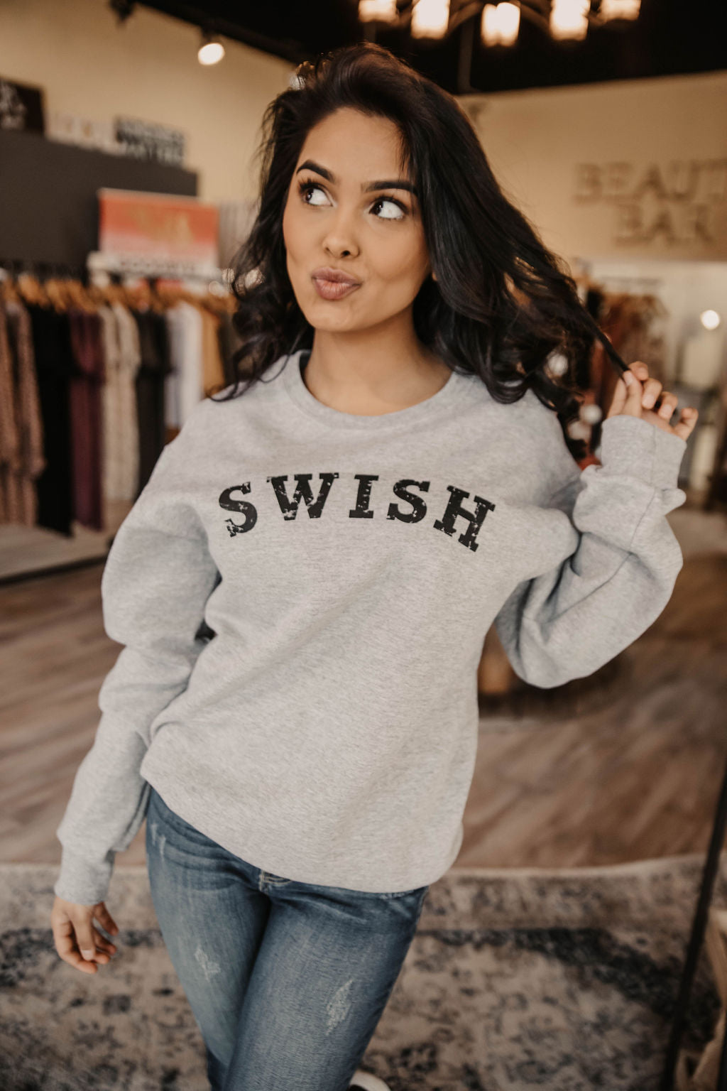 SWISH Medium Grey Crewneck Sweatshirt