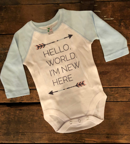 """Hello, World. I'm New"" Long Sleeve Onesie"