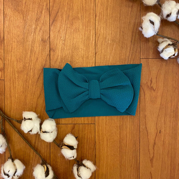 Peacock Teal Messy Bow Headwrap