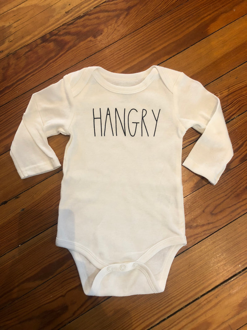 White Hangry LS Onesie