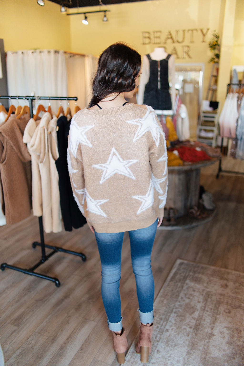 Taupe Star Sweater Top