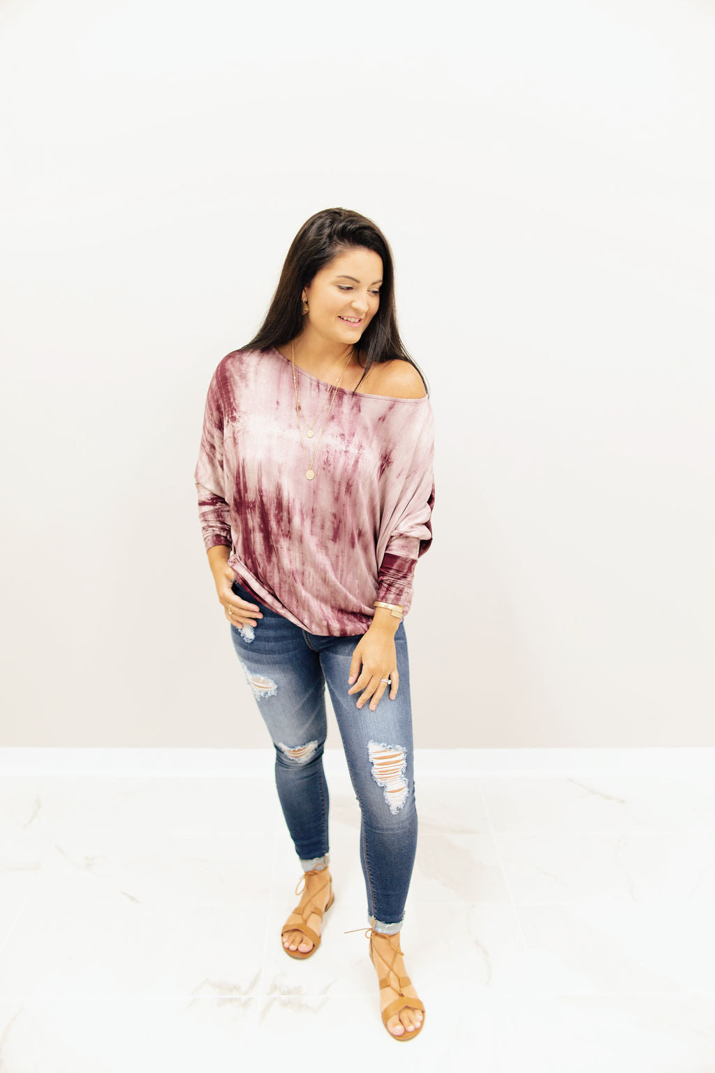 Burgundy Tie Dye OTS Long Sleeve Top