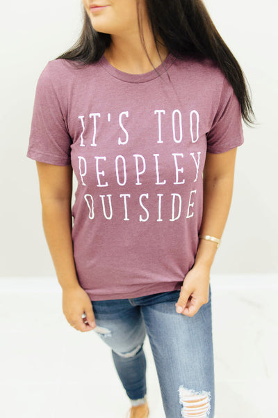 Heather Plum Too Peopley Outside Graphic T-Shirt