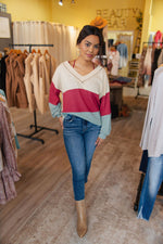 Cream/Rust/Sage Waffle Color Block Top