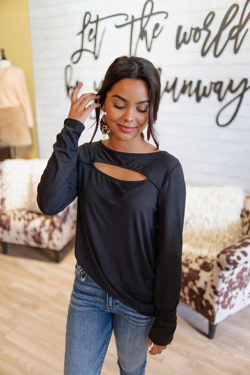 Black Soft Rib Top with Chest Cut Out