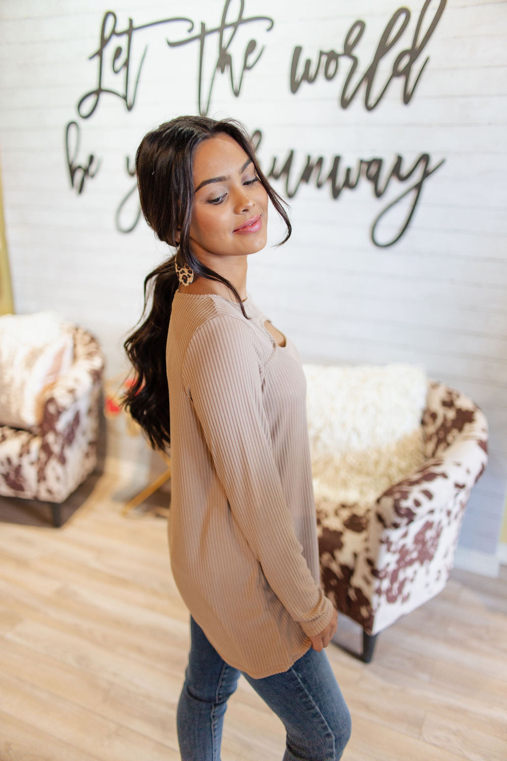 Mocha Soft Rib Top with Chest Cut Out