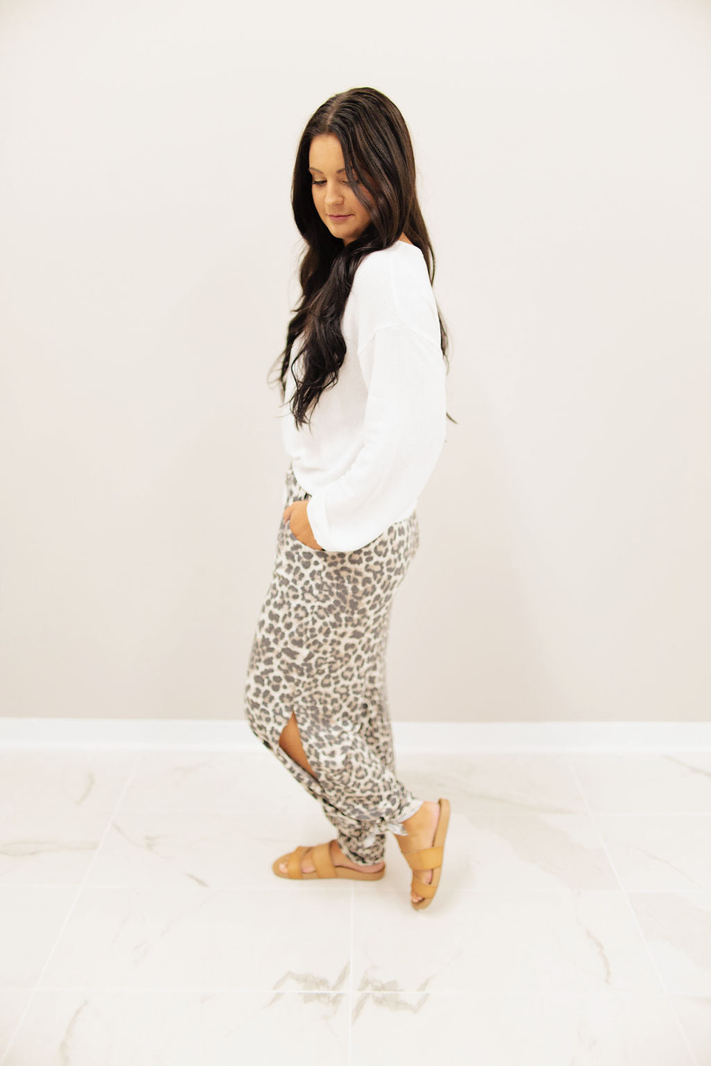 Grey Animal Print Side Slit Pants