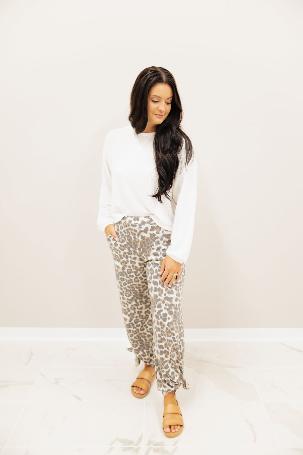Mocha Animal Print Side Slit Pants