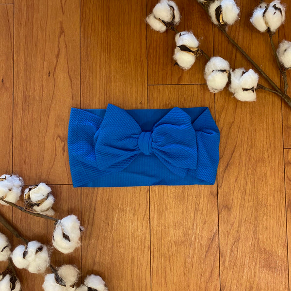 Royal Blue Messy Bow Headwrap