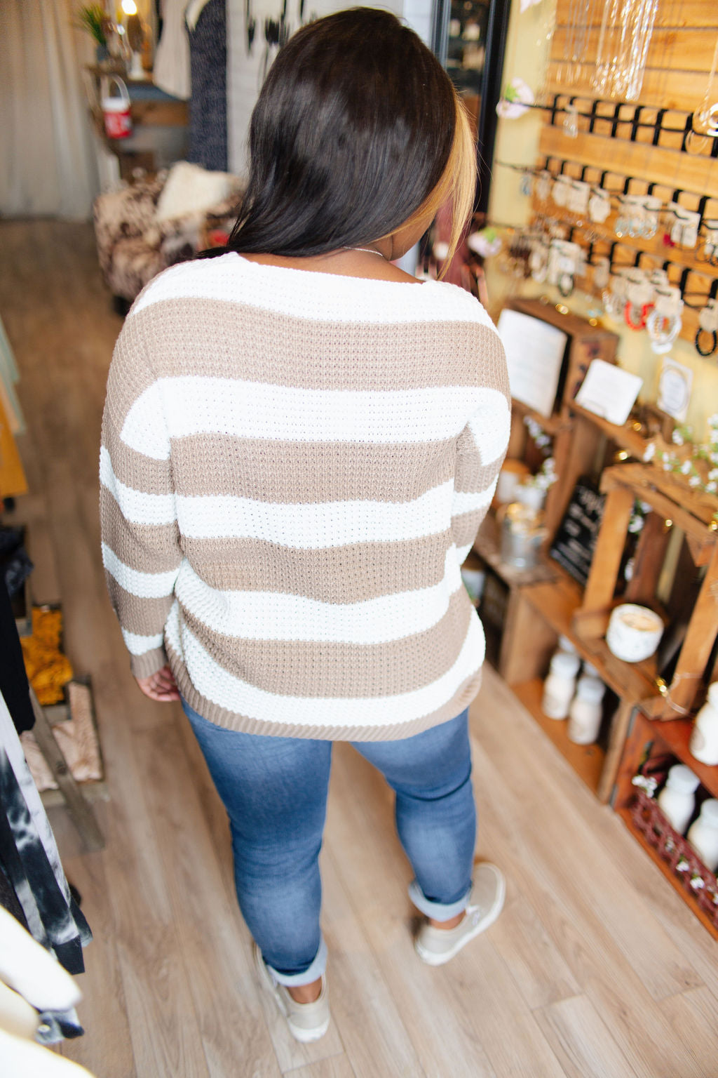 Taupe and White Striped Sweater