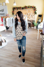 Taupe & Grey LS Leopard Body Top