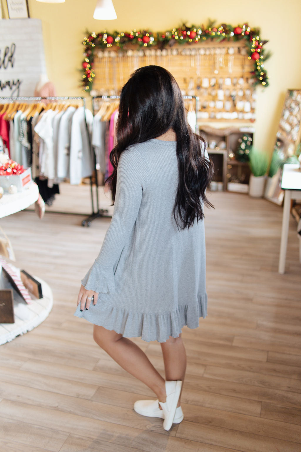 Grey LS Knit Ruffle Detail Dress