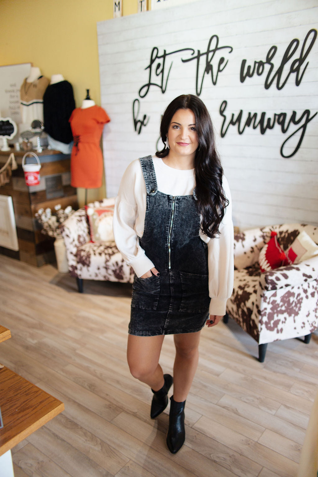 Black Corduroy Overall Mini Dress