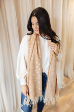 Tan Soft Star Fringe Scarf