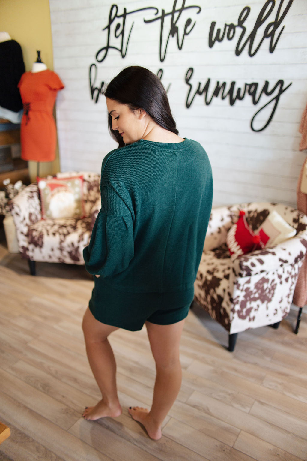 Green LS Heavy Knit Short Lounge Set