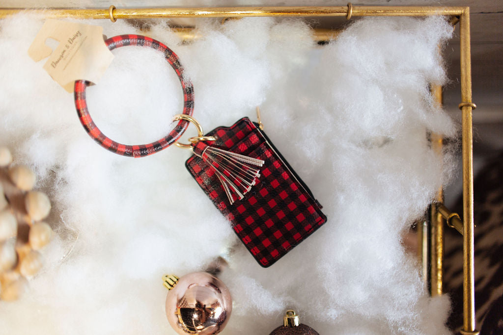 Red Buffalo Plaid Key Ring Wallet