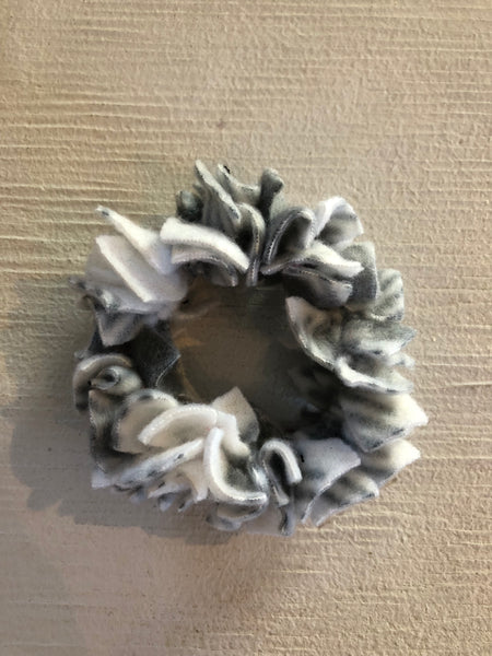 Confetti Hair Tie - Grey and White Fleece
