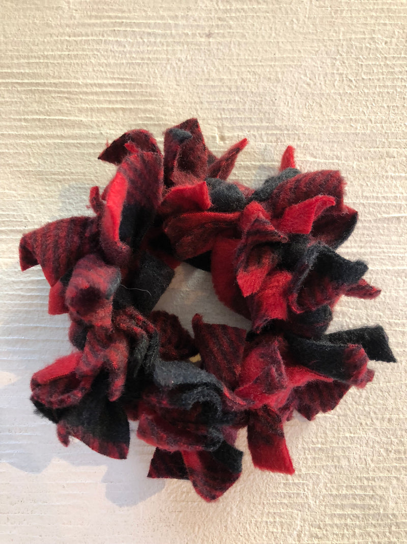 Confetti Hair Tie - Black and Red Plaid Fleece