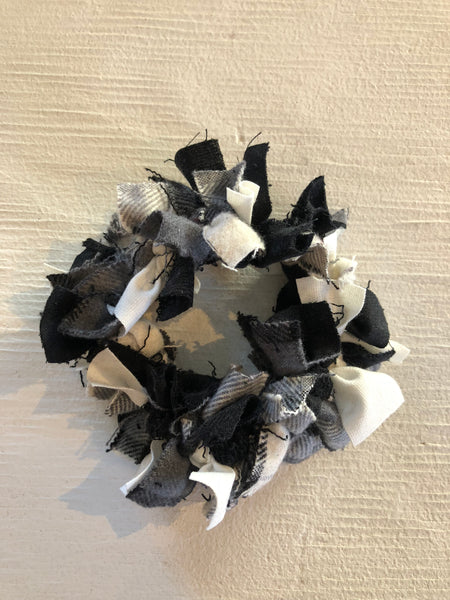 Confetti Hair Tie - Grey flannel, Black and White