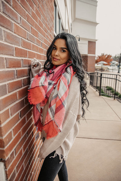 Fuchsia/Black/White Blanket Scarf