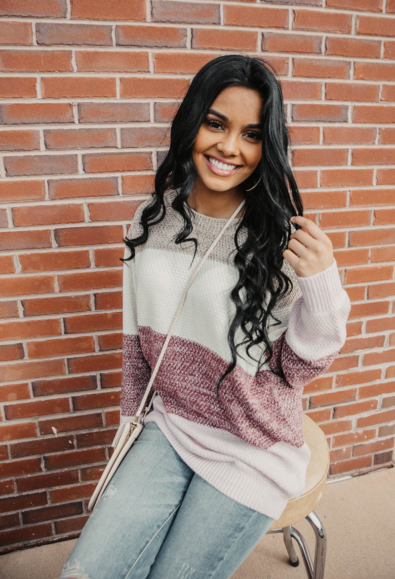 Mocha/Cream/Purple Color Block Knit Sweater