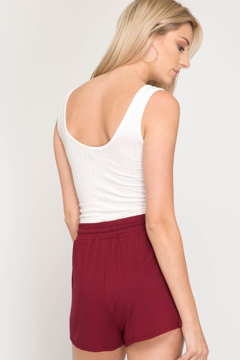 Red Knit Short with Side Stripe