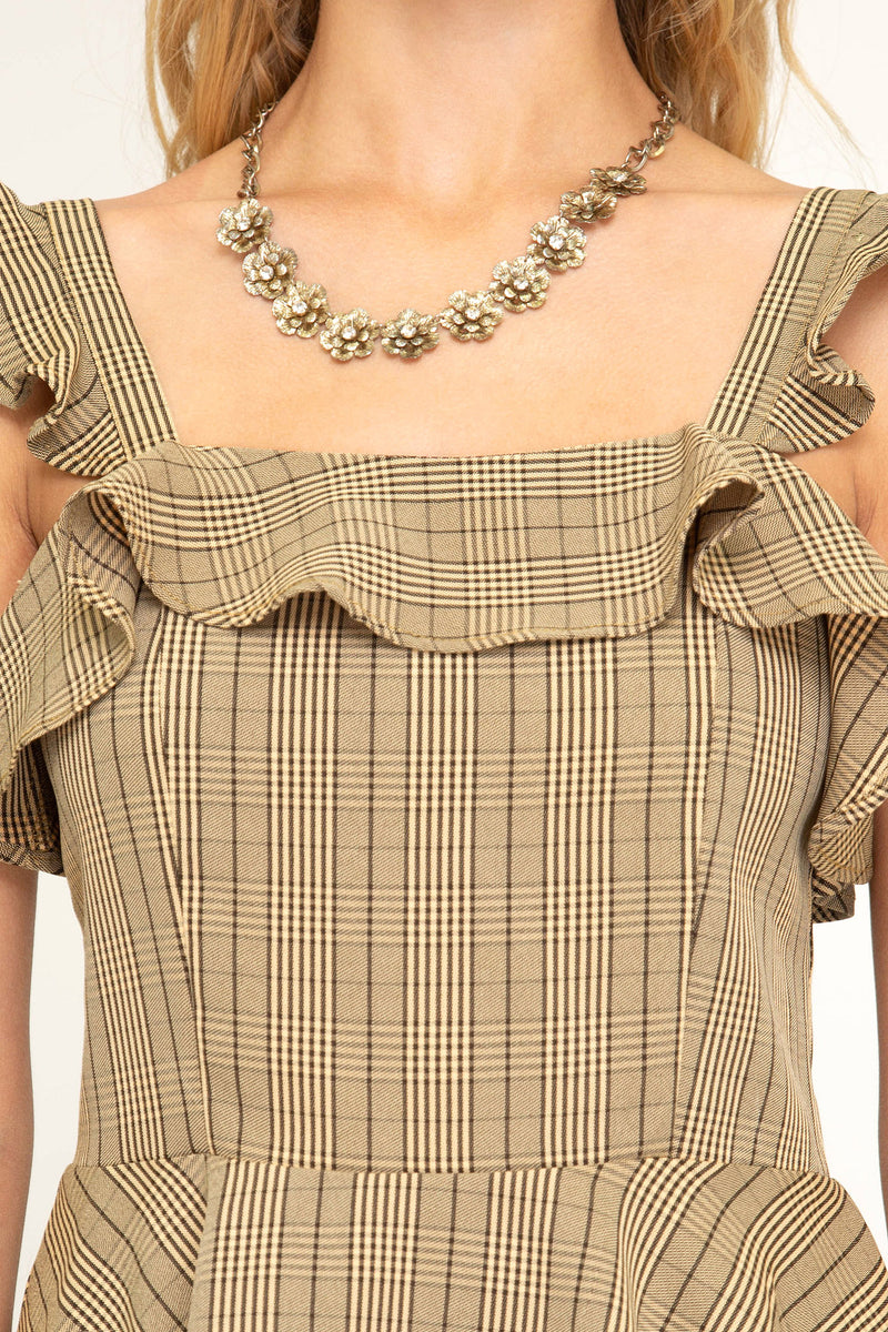 Honey Sleeveless Plaid Ruffle Tank