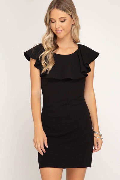 Black Ruffle Top Lace Back Dress