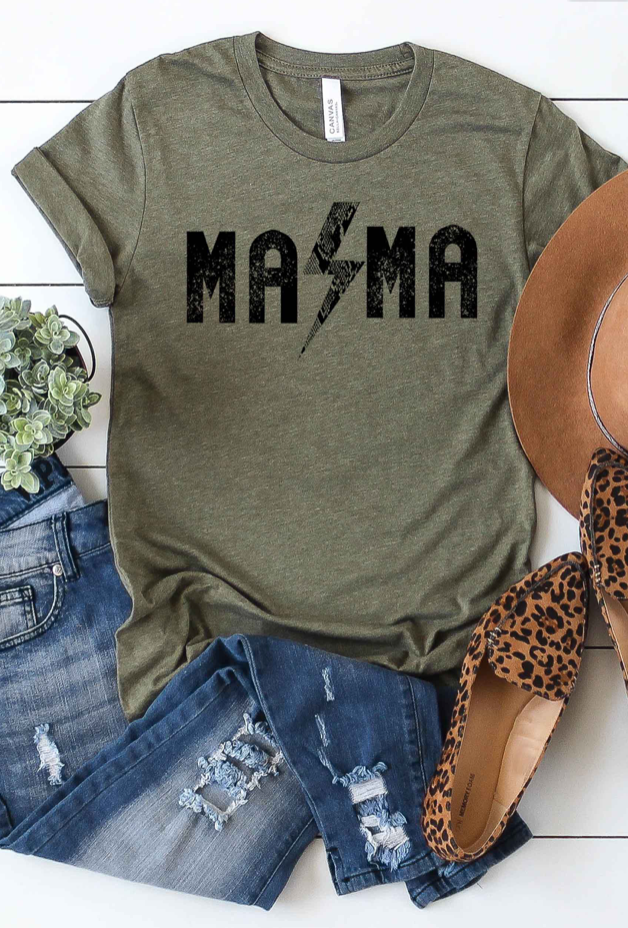 Olive Rock and Roll Mama Graphic T-Shirt