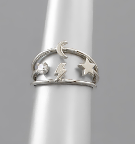 Silver Star/Moon Ring