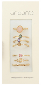 Gold/Multicolor Stone 7 Piece Ring Set