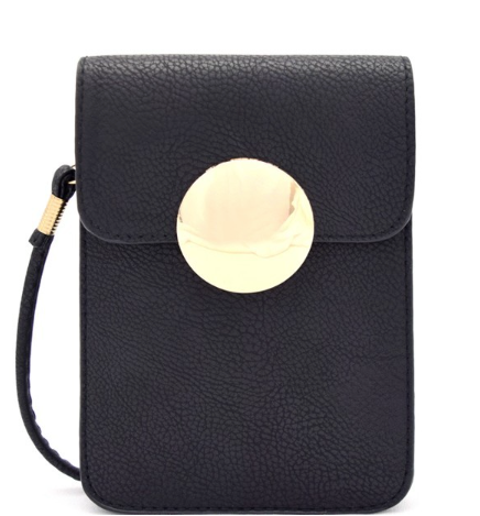 Black Circle Plate Crossbody