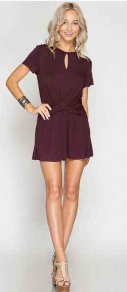 Plum Short Sleeve Romper with Twist Front