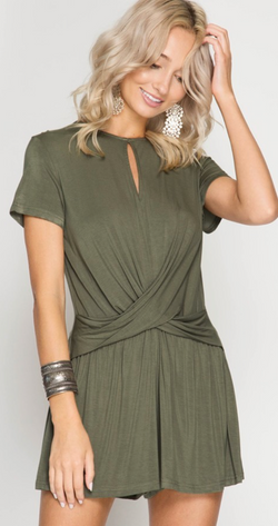 Cargo/Olive Short Sleeve Romper with Twist Front