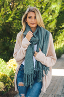 Dusty Blue Tassel Blanket Scarf