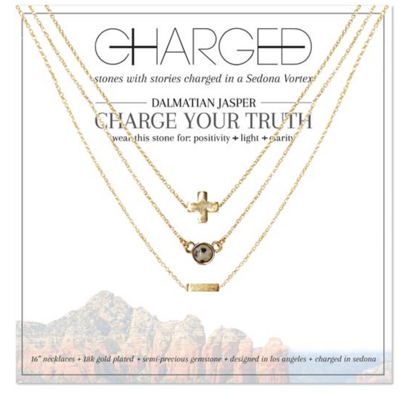 Charged Necklace Set (3 Necklaces) Dalmatian Jasper and Gold