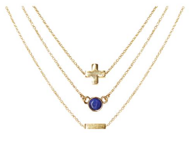 Charged Necklace Set (3 Necklaces) Lapis and Gold