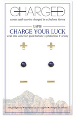 Charged Earrings Set (3 pairs) Lapis and Gold