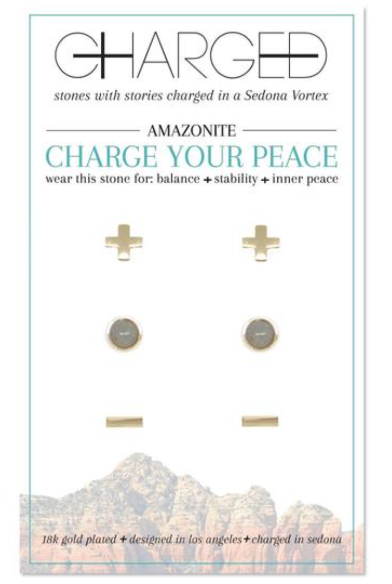 Charged Earrings Set (3 pairs) Amazonite and Gold
