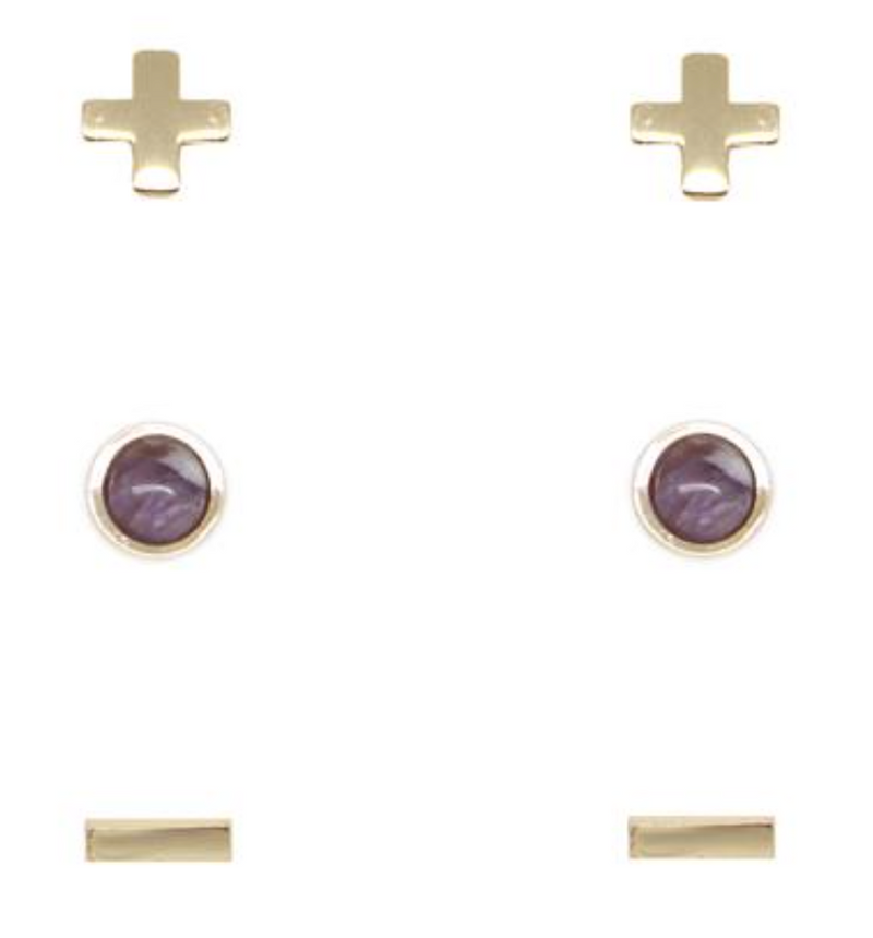 Charged Earrings Set (3 pairs) Amethyst and Gold