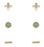 Charged Earrings Set (3 pairs) Aventurine and Gold