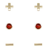 Charged Earrings Set (3 pairs) Carnelian and Gold