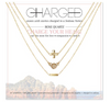 Charged Necklace Set (3 Necklaces) Rose Quartz and Gold