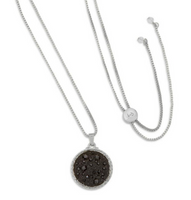Kelsey Pave Necklace In Jet, Silver, Luca + Danni