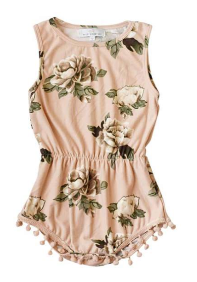 Light Peach Floral Pom Pom Romper