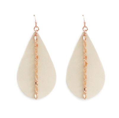 Cream Single Chain Vegan Leather Teardrop Earrings