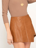 Camel Front Wrap Leather Shorts