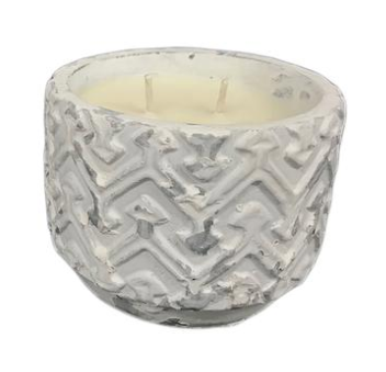 White Distressed Stone Candle - Unplug - Balsam and Cedar