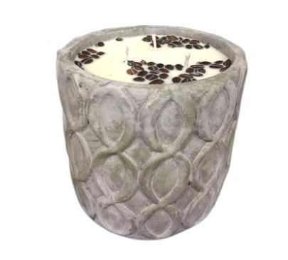 Jumbo Grey Stone Candle - Unplug - Hazelnut Coffee